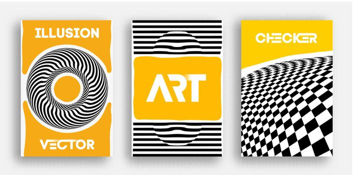 Vector Poster Set. Psychedelic pattern background optical illusion vector. Abstract 3d black and white lines background.