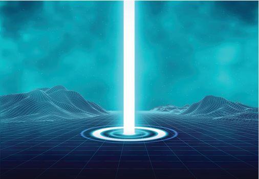 Wireframe retro landscape. Futuristic blue neon light portal. Magical glittering stardust illumination. Blinking energy stream. Hologram station.