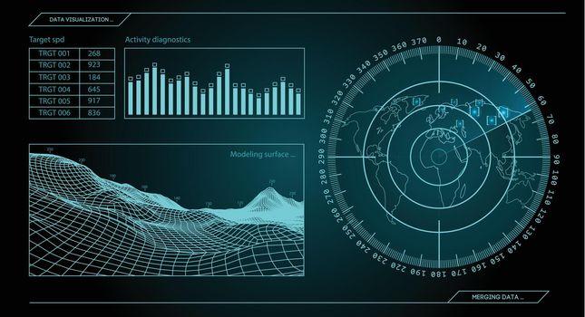 Military blue radar. Screen with target. Futuristic HUD interface. Stock vector illustration.