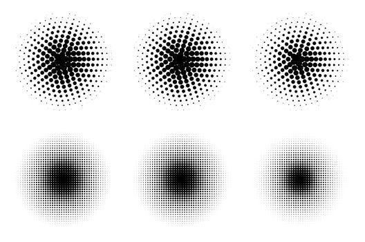 Halftone texture grunge vector set. Background halftone dot patern. Graphic dots halftone pattern. EPS 10.