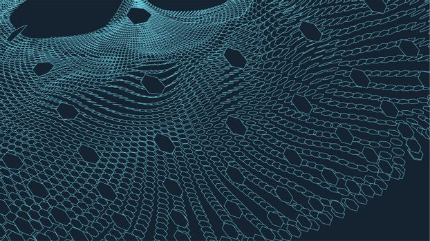 Abstract vector landscape background. Cyberspace grid. 3d technology vector illustration.