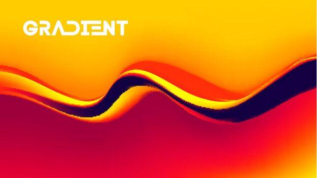 Yellow liquid background orange gold wave. Flowing liquid yellow fruity waves. Vector illustration.