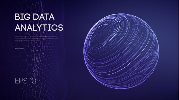 Artificial intelligence analytics. Data technology science concept. Network analysis sphere abstract. Futuristic ai digital cloud. Cyber tech vector illustration machine learning. Bigdata visualization circle for presentation, quantum innovation interference. Hexagonal wave techno vector.