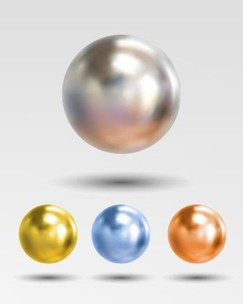 Chrome ball realistic isolated on white background