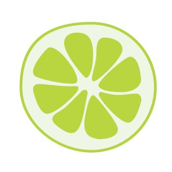 lime fruits poster in cartoon style depicting whole and half of fresh juicy citruses isolated on white background including caption lime. Vector illustration.