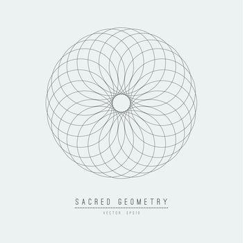 Sacred geometry line vector element flower of life . Vector illustration .