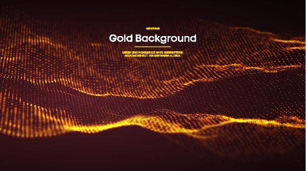 Gold glitter background. Gold glitter confetti. Abstract background. Elegant golden glitter bokeh light. Vector Illustration.