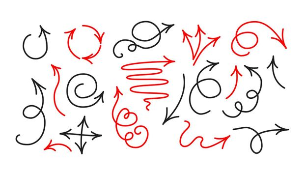 Arrow icon collection in doodle cartoon style. Hand drawn vector clipart illustration.