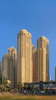Dubai, UAE December 25 2018 Dubai hotels at summer day.