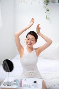 Armpit woman healthy clean skin depilation concept arm up