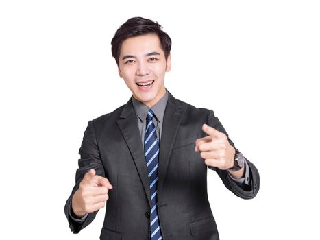 Young handsome businessman pointing with both hands, pointing to the camera