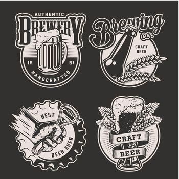 Monochrome vintage brewery badges