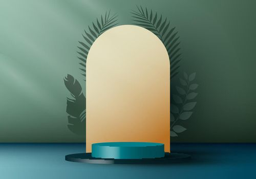 3D realistic elegant blue cylinder on layers rounded backdrop with tropical leaves on green background.