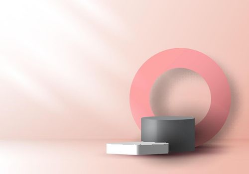 3D realistic pink and gray color geometric round shape stacked podium and circle backdro
