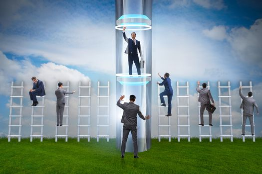Businessmen in accelerated and fast promotion concept