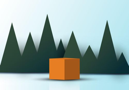 3D realistic brown cube shape with green triangles grass backdrop paper cut style on soft blue background