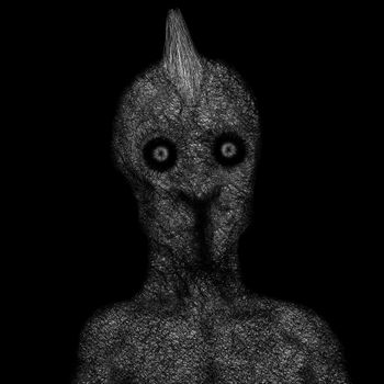 Humanoid creature with a vertical mouth