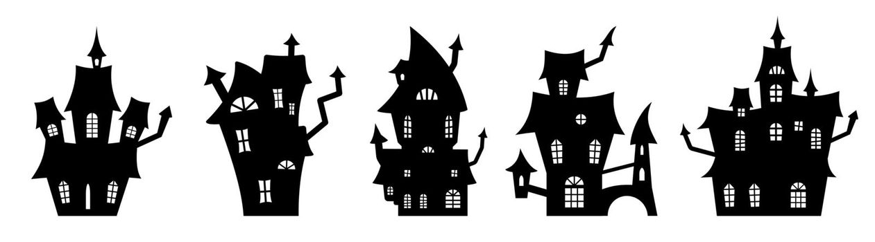 Set of black silhouettes of haunted houses. Spooky horror design decoration for Halloween party. Spooky background for October party and invitations. Flat vector stock illustration.