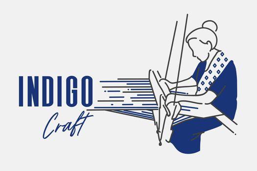 Indigo craft woman weaving action shot vector illustration.