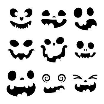 Set of scary and funny faces for Halloween pumpkin or ghost. Jack-o-lantern facial expressions. Simple collection spooky horror of pumpkins faces. Isolated vector stock illustration.