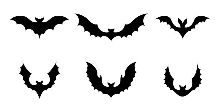Set of black silhouette bats. Creepy decoration of horror design for Halloween party. Spooky background for october night party and invitations. Flat vector stock illustration.