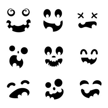 Scary and funny faces for Halloween pumpkin or ghost set. Jack-o-lantern facial expressions. Simple collection spooky horror of pumpkins faces. Isolated vector stock illustration.