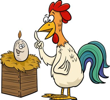 rooster and egg cartoon humorous illustration