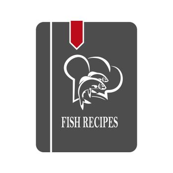 Simple vector icon of a book with fish recipes. Flat Style