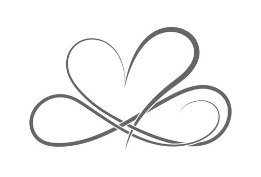 symbol of eternal love. The heart and the infinity sign. Calligraphy illustration for creative design of love declaration, Valentine's day, wedding. Flat Style