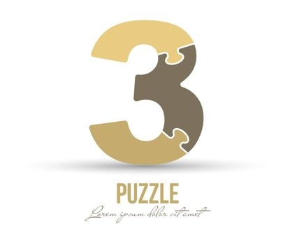 Number 3 is made up of puzzles. Vector illustration for logo, brand logo, sticker or scrapbooking, for education. Simple style.