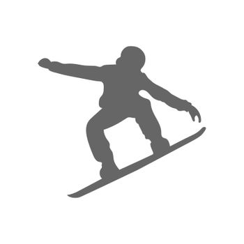 Silhouette of a snowboarder. An athlete on a board for descending through the snow from the mountain. Flat style.