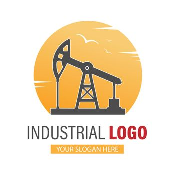 Industrial logo. an oil or gas rig on the background of the sun. Stock vector image for logo, sticker, or sticker. Flat style, isolated on white background