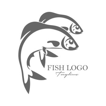 Simple vector fish icon for logo, sticker, brand, or scrapbooking. Flat Style