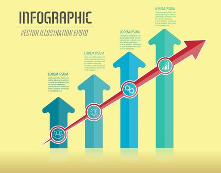 Infographics with arrows. Dynamic development, the path to success, the improvement of the individual or the work process. Color design