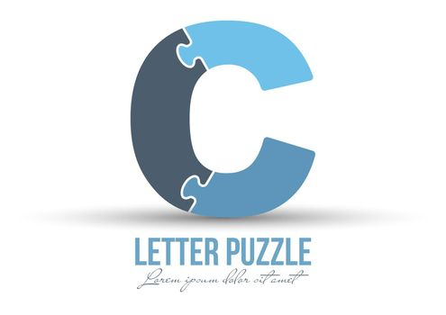 Letter C is made up of puzzles. Vector illustration for logo, brand logo, sticker or scrapbooking, for education. Simple style.