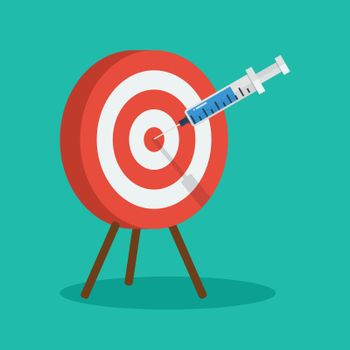 Vaccine and syringe injection to target dartboard