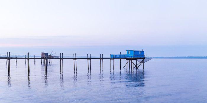 Hut of fishermen in blue sunset