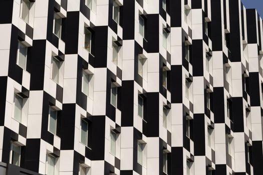 Rhythmic architectural texture. Black and white business center building