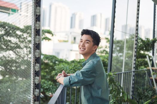 teenager smiling on the terrace