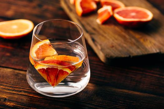 Infused water with bloody oranges