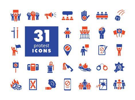 Protest, strike, revolution set vector glyph icons