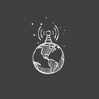 Sketch icon in black - Globe