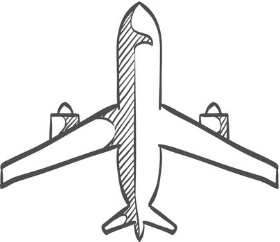 Sketch icon - Airplane commercial