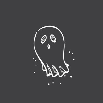 Sketch icon in black - Halloween ghost