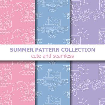 Pastel summer pattern collection . Summer banner. Summer holiday. Vector