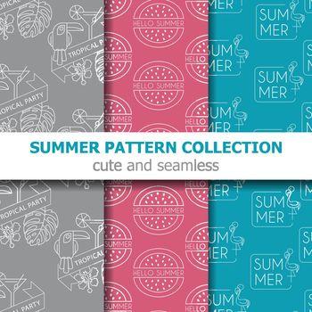 Modern summer pattern collection . Summer banner. Summer holiday. Vector