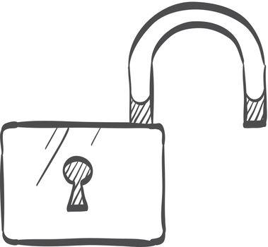 Sketch icon - Padlock unlocked
